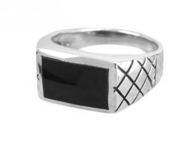 925 Sterling Silver Men's Black Onyx Engraved Checkered Wide Ring