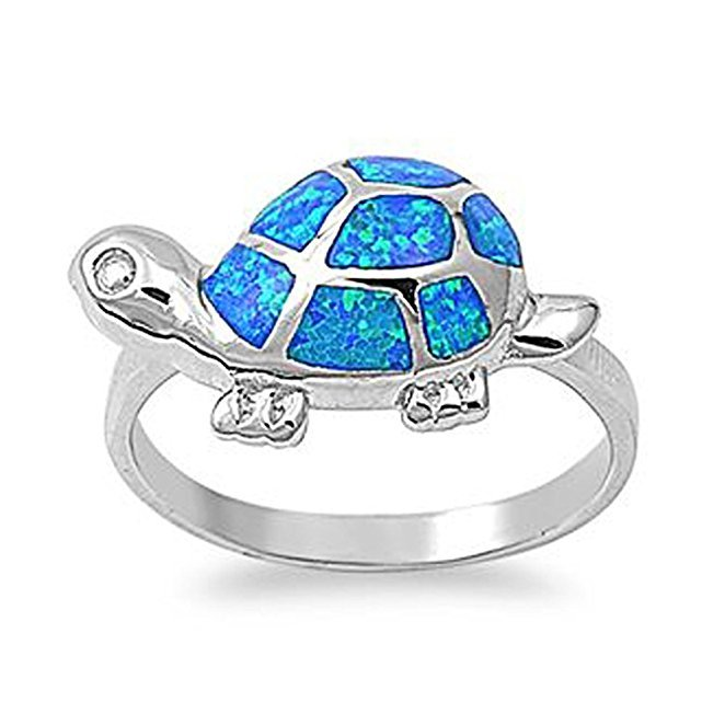 925 Sterling Silver Hawaiian Blue Fire Inlay Opal Lucky Turtle Ring