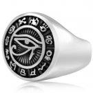 925 Sterling Silver Egypt Egyptian Eye of God Horus Udjat Illuminati Signet Ring