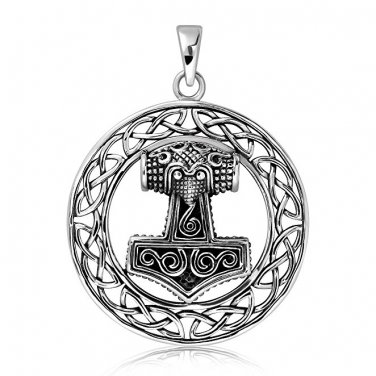 925 Sterling Silver Thor Hammer Mjolnir Mjölnir Viking Norse Celtic Infinity Knots Pendant