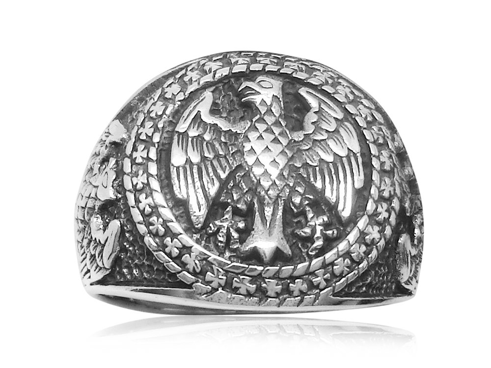 925 Sterling Silver Mens German Eagle Round Signet Bundesadler Band Ring
