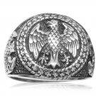 925 Sterling Silver Mens German Eagle Round Signet Bundesadler Band Ring