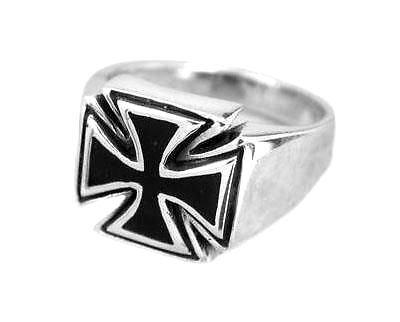 925 Sterling Silver Mens Maltese Iron Cross Gothic Biker Black Enamel Ring