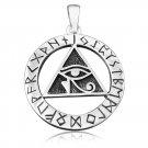 925 Sterling Silver Egyptian Eye of Horus Illuminati Udjat Norse Viking Runes Futhark Pendant