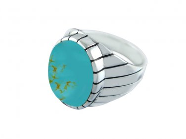 925 Sterling Silver Men's Oval Genuine Turquoise Stone Engraved Sides Solid Ring