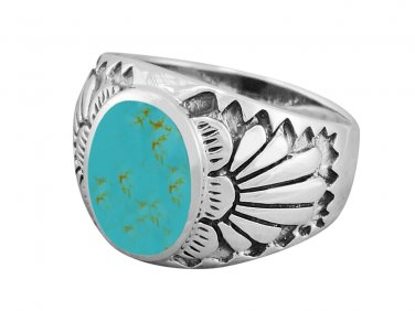 925 Sterling Silver Mens Inlay Genuine Turquoise Native American Indian Ring
