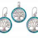 925 Sterling Silver Hawaiian Blue Fire Opal Tree of Life Dangle Earrings Pendant Set