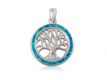 925 Sterling Silver Hawaiian Blue Fire Opal Inlay Tree of Life  Round Charm Pendant