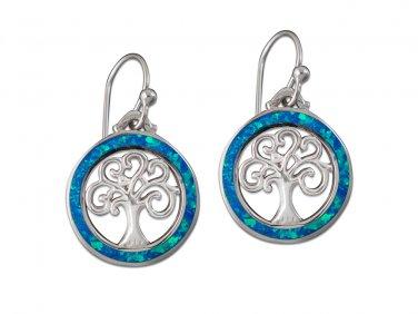 925 Sterling Silver Hawaiian Blue Fire Opal Celtic Tree of Life Dangle Earrings Set