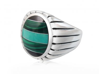925 Sterling Silver Mens Onyx Malachite Turquoise Engraved Sides Solid High Polish Ring