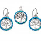 925 Sterling Silver Hawaiian Blue Fire Opal Celtic Tree of Life Dangle Earrings Pendant Set