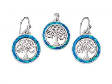 925 Sterling Silver Hawaiian Blue Fire Opal Celtic Tree of Life Dangle Earrings Pendant Set