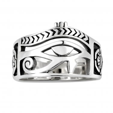 925 Sterling Silver Signet Egyptian Eye of Horus Udjat Egypt Ankh Scarab Band Ring