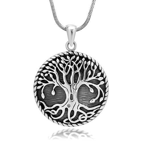 925 Sterling Silver Yggdrasil Norse Tree of Life Eternal Viking Jewelry Charm Pendant