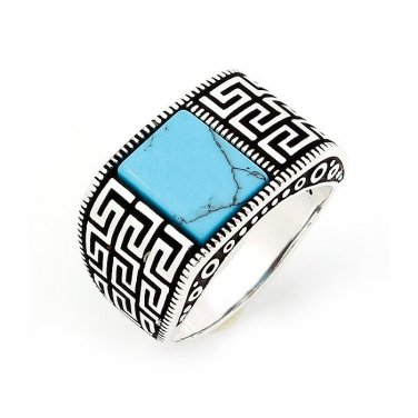 925 Sterling Silver Mens Genuine Turquoise Greek Key Meander Handmade Ring