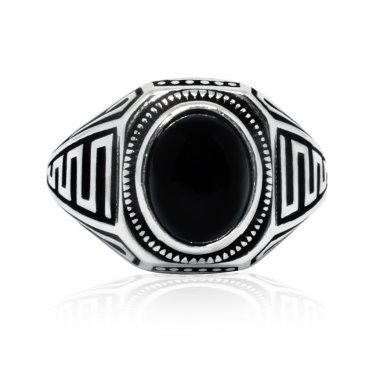 925 Sterling Silver Mens Genuine Black Onyx Greek Key Meander Handmade Ring