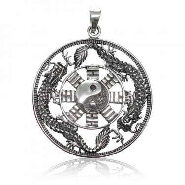925 Sterling Silver Yin Ying Yang Chinese Dragon Round Big Jewelry Pendant