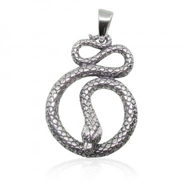 925 Sterling Silver Detailed Cobra Snake Infinity Serpent Reptile Charm Pendant