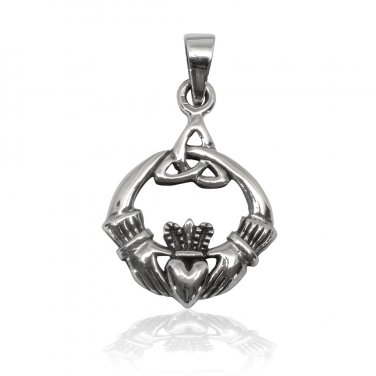 925 Sterling Silver Celtic Irish Claddagh Triquetra Trinity Knot Charm Pendant