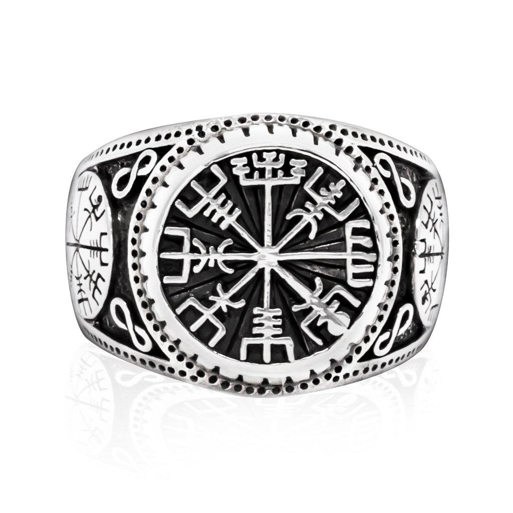 925 Sterling Silver Vegvisir Compass Signet Icelandic Aegishjalmur Viking Norse Ring