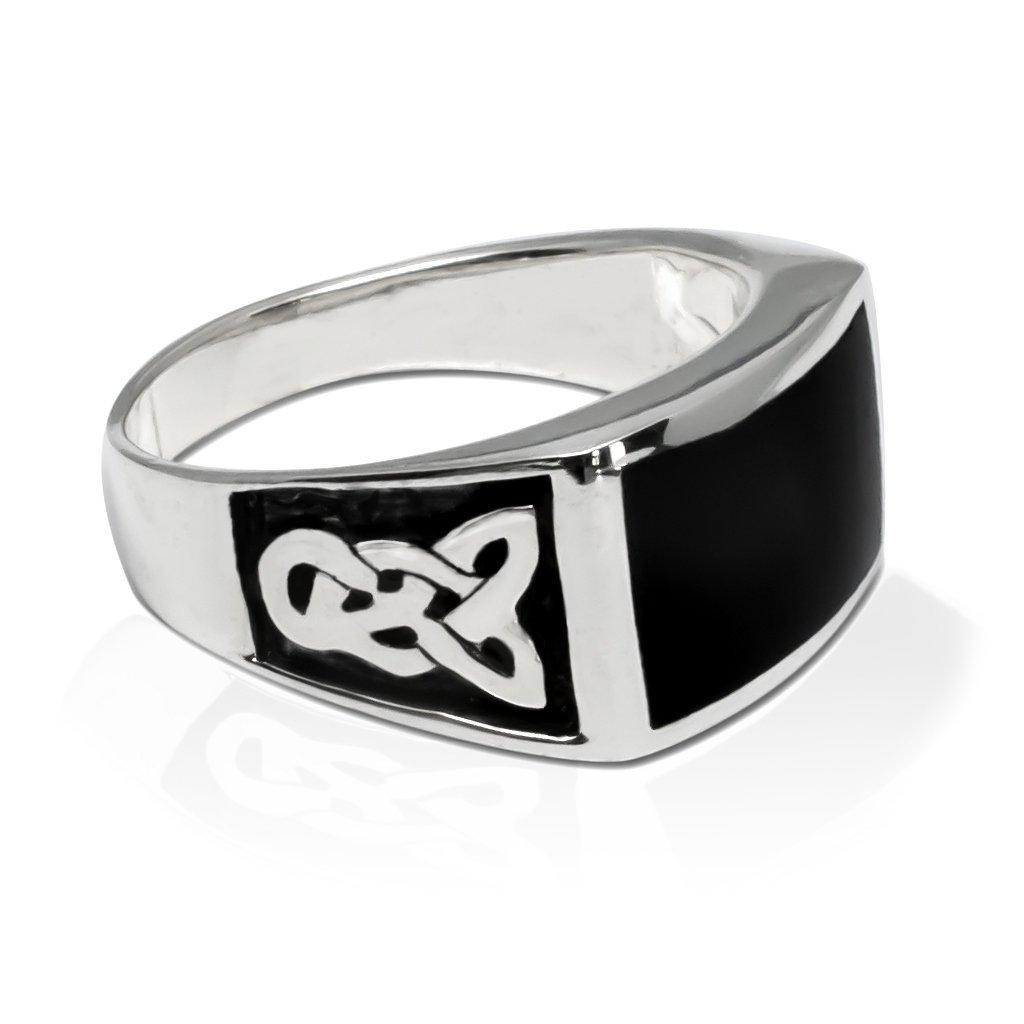 925 Sterling Silver Men's Rectangle Onyx Celtic Knot Pattern Ring