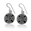 925 Sterling Silver Celtic Irish Knot Knights Templar Iron Cross Dangle Earrings Set