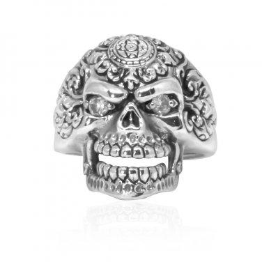 925 Sterling Silver Sugar Flower Skull Clear CZ Eyes Gothic Tattoo Biker Thick Ring