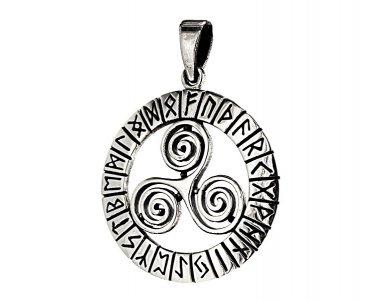 925 Sterling Silver Celtic Triskelion Triskele Norse Viking Runes Futhark Pendant