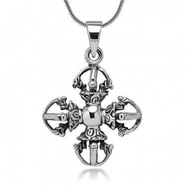 925 Sterling Silver Tibetan Buddhist Double Vajra Dorje Phurba Amulet Protection Pendant