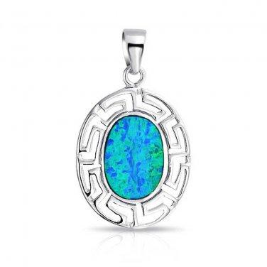 925 Sterling Silver Hawaiian Blue Fire Inlay Oval Opal Greek Key Meander Meandros Pendant