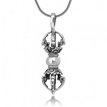 925 Sterling Silver Tibetan Buddhist Vajra Dorje Phurba Amulet Hindu Pendant