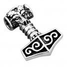 925 Sterling Silver Viking Thor Hammer Mjolnir Ram Goat Head Pendant