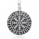 925 Sterling Silver Magical Staves Aegishjalmur Viking Helm of Awe Compass Norse Runes Pendant