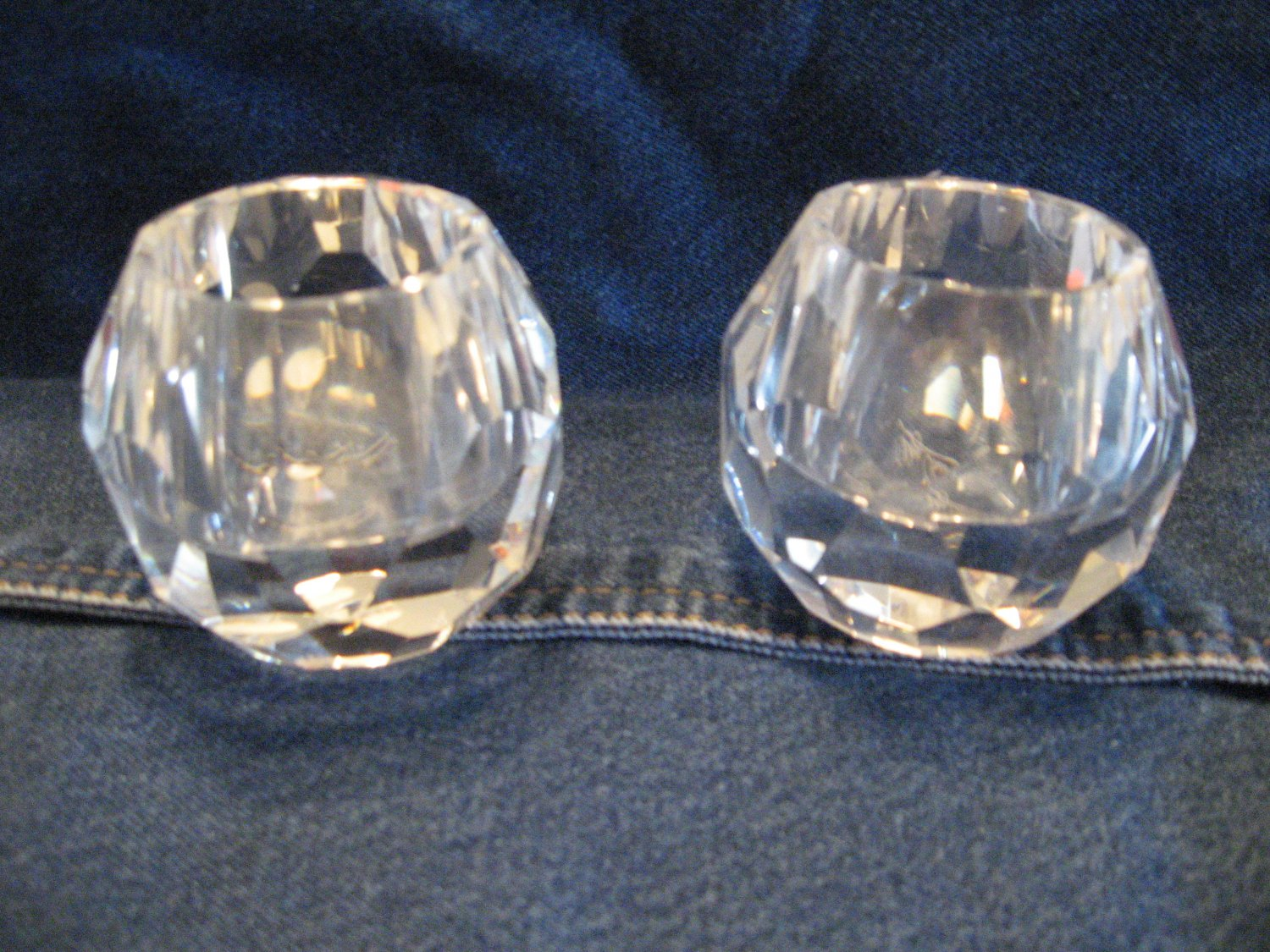 Set (2) of crystal votive candle holders Oleg Cassini