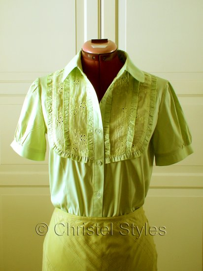 Green Yellow Embroidered Lace Women's Shirt Size L (was $19)