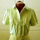 Green Yellow Embroidered Lace Women's Shirt Size M (was $19)