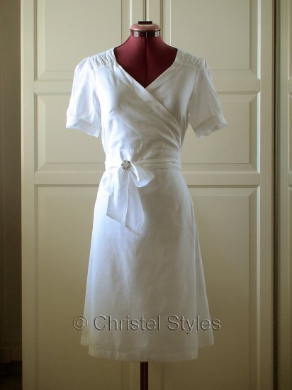Classic & Stylish White Cotton Wrap Dress Size S (was $22)