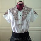 Classic Embroidered White Women's Shirt Size L (was $19)