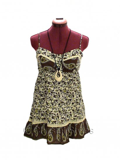 Brown Floral Spaghetti Lace Baby Doll Empire Top Size L (was $19)