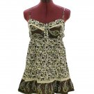 Brown Floral Spaghetti Lace Baby Doll Empire Top Size M (was $19)