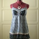 Blue Floral Spaghetti Lace Baby Doll Empire Top Size M (was $19)