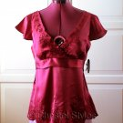Red Embroidered Empire Baby Doll Silk Top Size M (was $22)