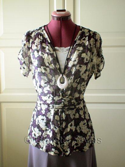 Cream-Purple-Black Floral Blouse Top Size M  (was $18)