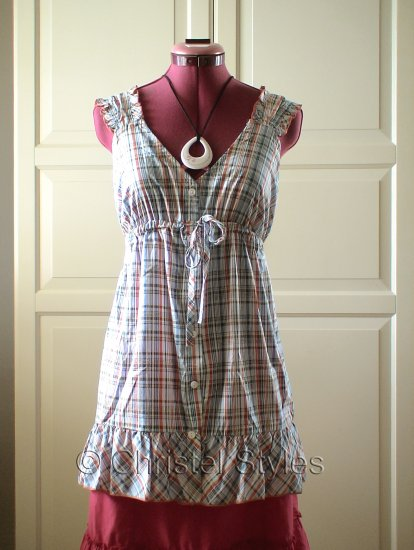 Empire Baby Doll Plaid Cotton Top Blouse Size M  (was $18)