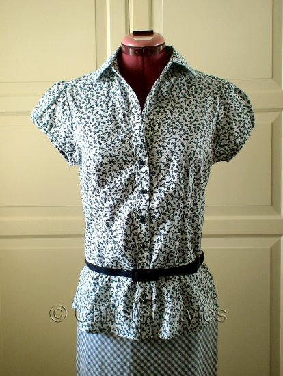 White Blue Floral Belted Women's Shirt Size L  (was $19)