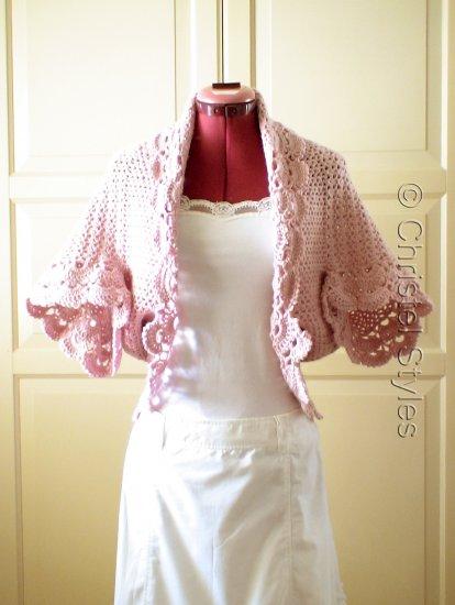 NEW Handmade Crochet Dusty Pink Wool Cardigan Scarf Size Small/Medium