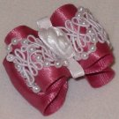 Dog bow- Rose beaded lace - 7/8 Shih Tzu Yorkie Maltese
