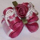 Dog bow-  Rose beaded lace- 5/8 Shih Tzu Yorkie Maltese