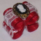 Dog bow- Red cameo - Shih Tzu Yorkie Maltese