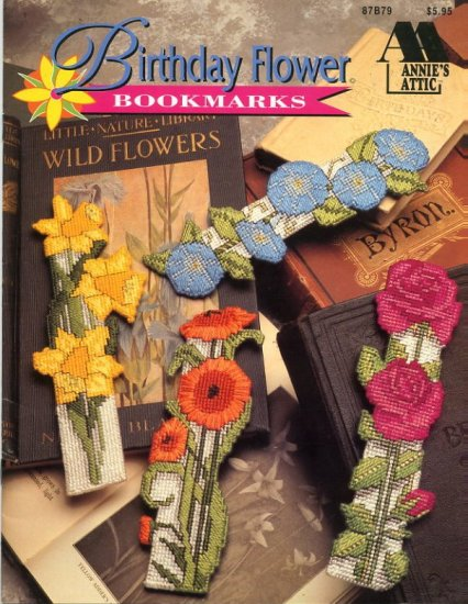 Annie's Attic Birthday Flower Bookmarks Booklet for Plastic Canvas 87B79